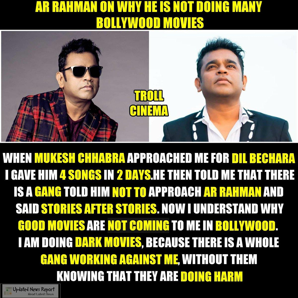 AR Rahman Opens up that how a B-town gang is spreading 'false rumors' about him, and stopping him from getting work from Bollywood Fil