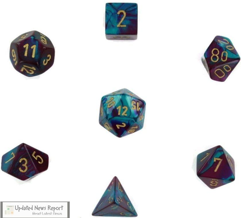 Chessex Manufacturing Cube Gemini Set of 7 Dice Teal with Gold Numbering Board Game Accessories