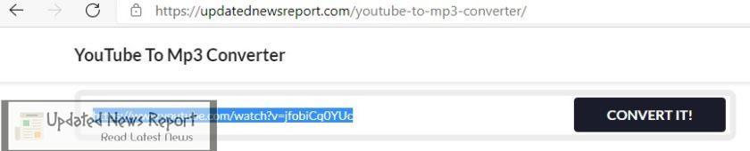 Paste video url into converter